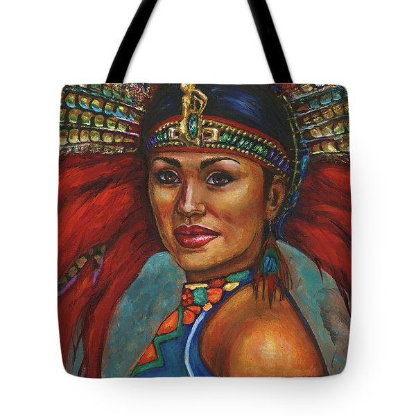 Tote Bag featuring the painting Indian Princess Portrait by Alga Washington
