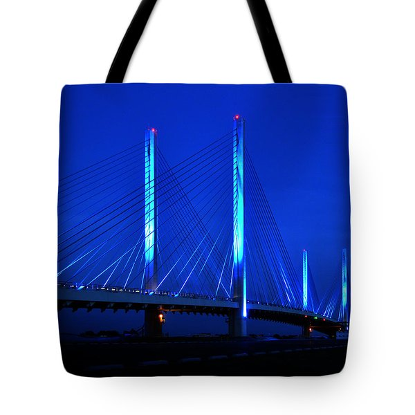 Indian River Bridge At Night Tote Bag