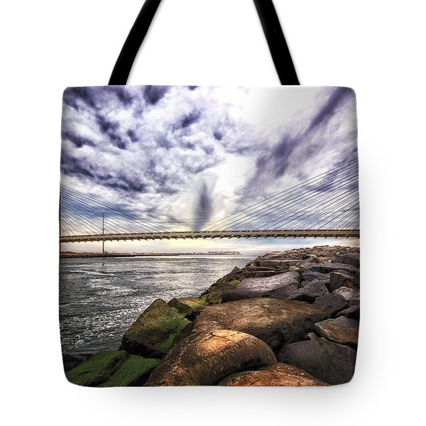 Indian River Bridge Clouds Tote Bag