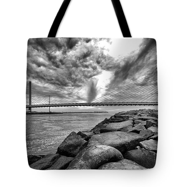 Indian River Bridge Clouds Black And White Tote Bag