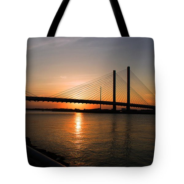 Indian River Bridge Sunset Reflections Tote Bag