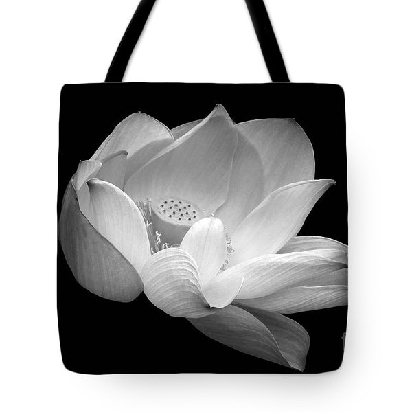 Indian Sacred Lotus In Black And White Tote Bag