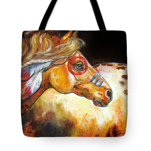 Indian War Horse Golden Sun Tote Bag