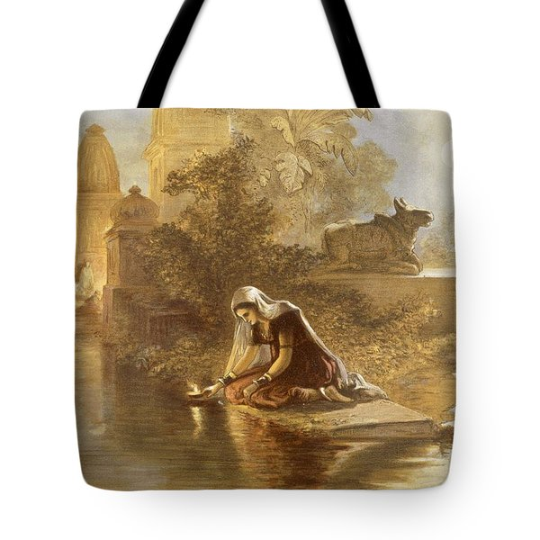 Indian Woman Floating Lamps Tote Bag by William 'Crimea' Simpson