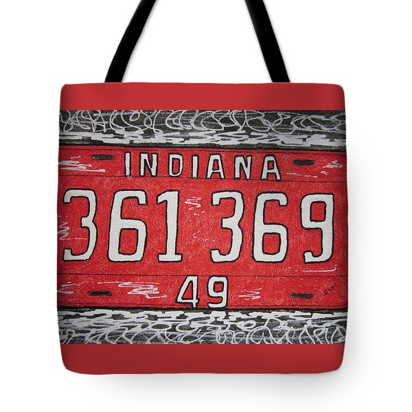 Indiana 1949 License Platee Tote Bag by Kathy Marrs Chandler
