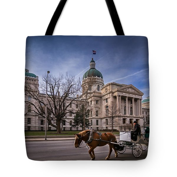 Indiana Capital Building - Front With Horse Passing Tote Bag