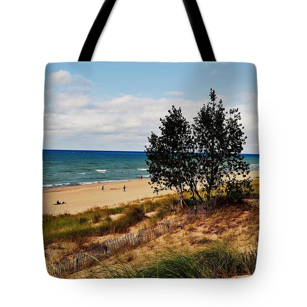 Indiana Dunes Two Tree Beachscape Tote Bag