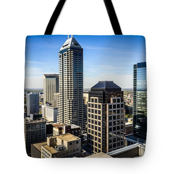 Indianapolis Aerial Picture Of Downtown Office Buildings Tote Bag by Paul Velgos