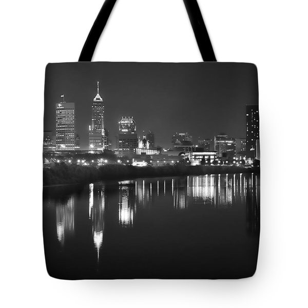 Indianapolis Skyline At Night Indy Downtown Black And White Bw Panorama Tote Bag by Jon Holiday