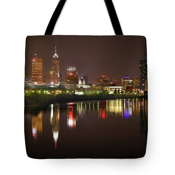 Indianapolis Skyline At Night Indy Downtown Color Panorama Tote Bag by Jon Holiday