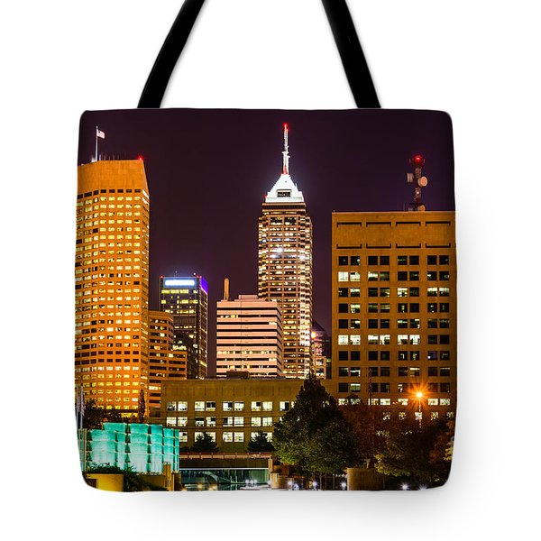 Indianapolis Skyline At Night Picture Tote Bag by Paul Velgos