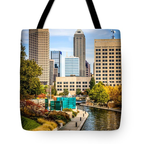 Indianapolis Skyline Picture Of Canal Walk In Autumn Tote Bag by Paul Velgos