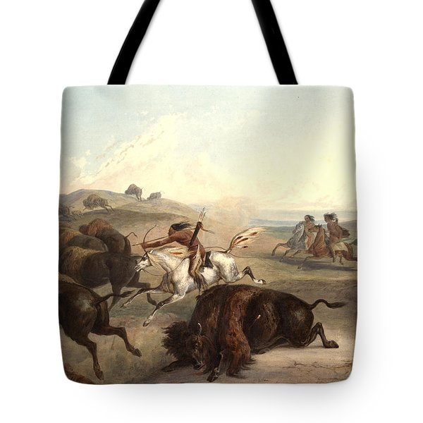 Indians Hunting The Bison Tote Bag by Karl Bodmer