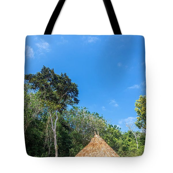 Indigenous Hut Tote Bag by Jess Kraft