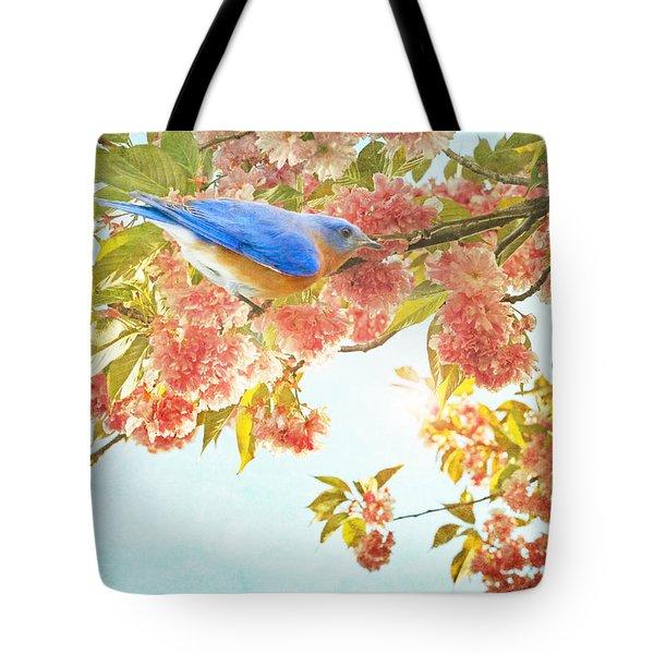 Indigo Bluebird On Pink Flowering Tree Branch  Tote Bag