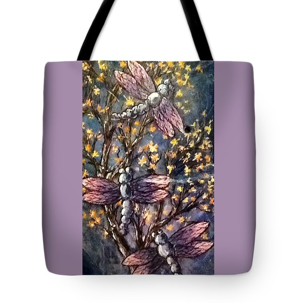 Tote Bag featuring the painting Indigo Dragons by Megan Walsh