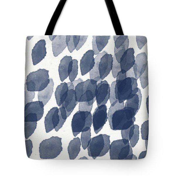 Indigo Rain- Abstract Blue And White Painting Tote Bag