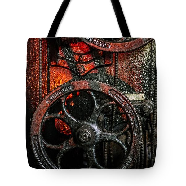Industrial Wheels Tote Bag by Carlos Caetano
