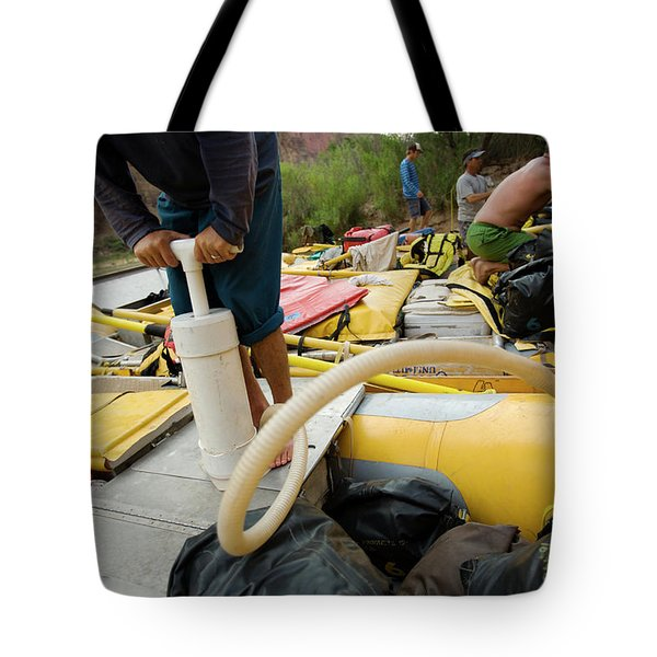 Inflating And Packing Rafts By A River Tote Bag