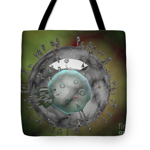 Influenza Virus, Glassy Look Tote Bag by Stocktrek Images