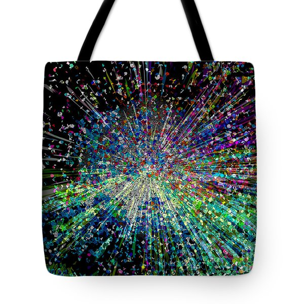 Tote Bag featuring the digital art Information Explosion by Mariarosa Rockefeller