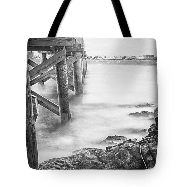 Tote Bag featuring the photograph Infrared View Of Stormy Waves At Stramsky Wharf by Jeff Folger