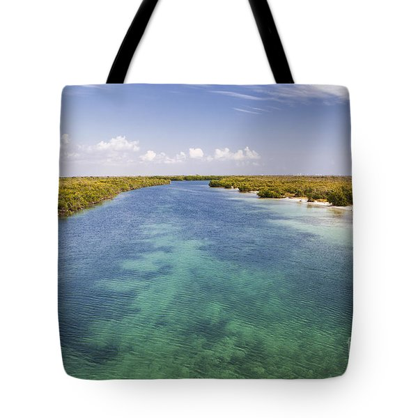 Inlet Leading To Caribbean Ocean Tote Bag