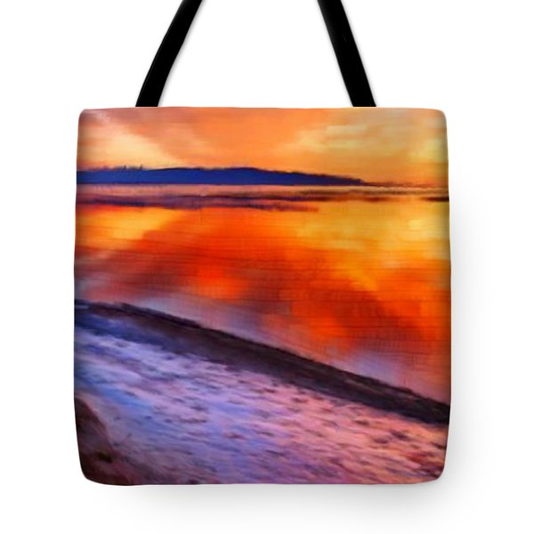 Tote Bag featuring the painting Inlet Sunset by Bruce Nutting