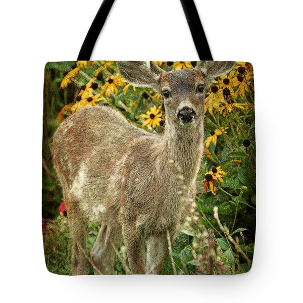 Tote Bag featuring the photograph Innocent Fawn And Flowers by Peggy Collins