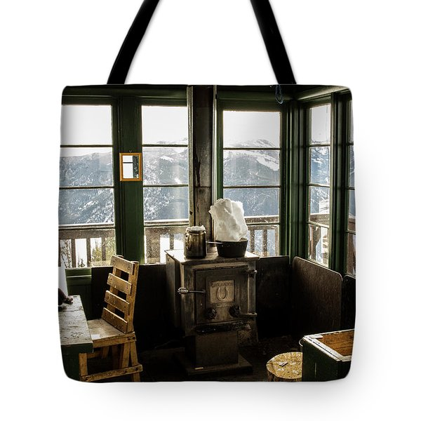 Inside A Fire Lookout In Winter Tote Bag