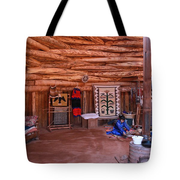 Inside A Navajo Home Tote Bag by Diane Bohna