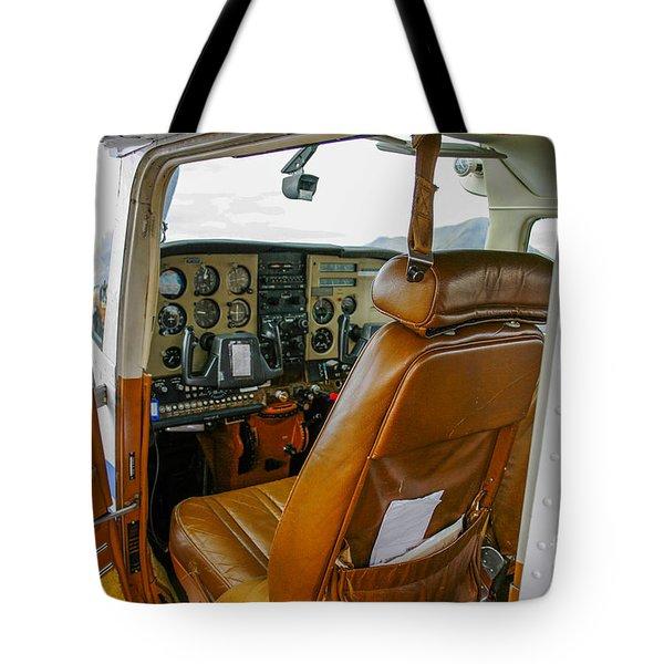 inside a small Cesna Tote Bag