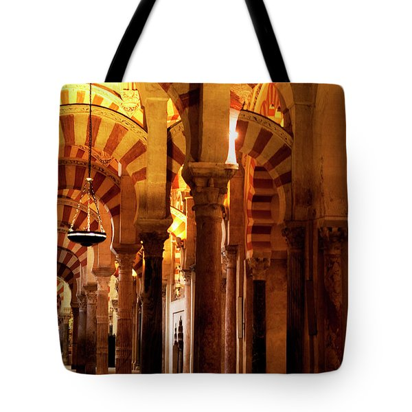 Tote Bag featuring the photograph Inside The Mezquita by Lorraine Devon Wilke