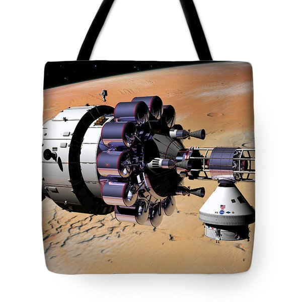 Tote Bag featuring the digital art Inspection Over Mars by David Robinson