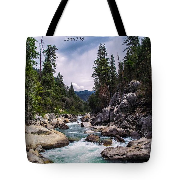 Inspirational Bible Scripture Emerald Flowing River Fine Art Original Photography Tote Bag by Jerry Cowart