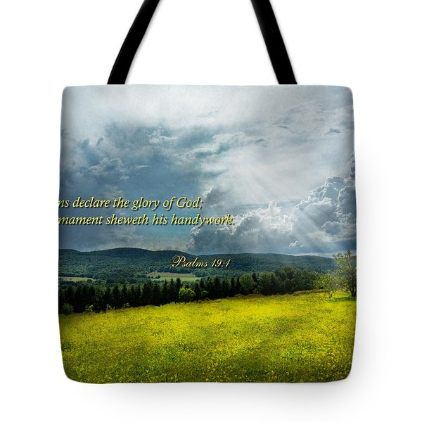 Inspirational - Eternal Hope - Psalms 19-1 Tote Bag by Mike Savad