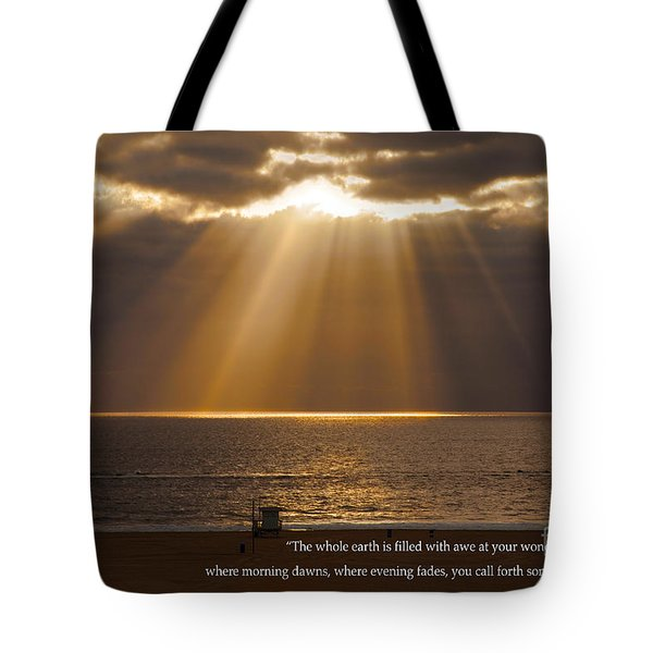 Inspirational Sun Rays Over Calm Ocean Clouds Bible Verse Photograph Tote Bag by Jerry Cowart