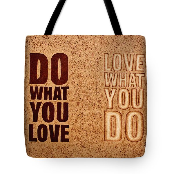 Tote Bag featuring the painting Inspiring Quote Original Coffee Painting by Georgeta Blanaru