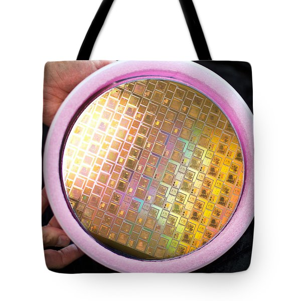 Tote Bag featuring the photograph Integrated Circuits On Silicon Wafer by Science Source