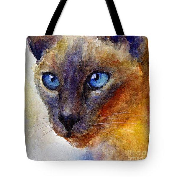Intense Siamese Cat Painting Print 2 Tote Bag by Svetlana Novikova