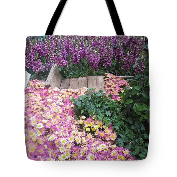 Tote Bag featuring the photograph Interior Decorations Butterfly Gardens Vegas Golden Yellow Purple Flowers by Navin Joshi