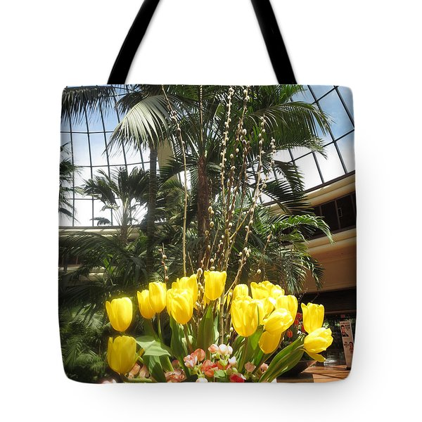 Tote Bag featuring the photograph Interior Decorations Butterfly Gardens Vegas Golden Yellow Tulip Flowers by Navin Joshi