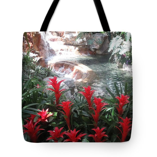 Tote Bag featuring the photograph Interior Decorations Water Fall Flowers Lights Shades by Navin Joshi