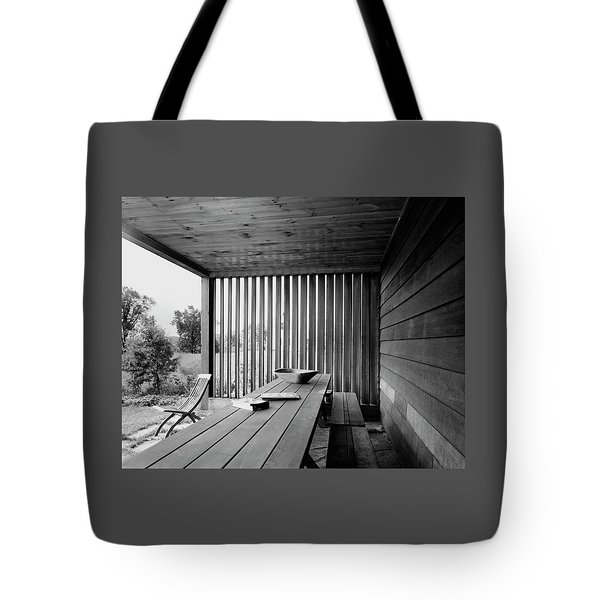 Interior End Of Porch With Vertical Louvers Tote Bag