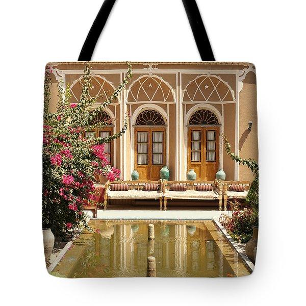 Interior Garden With Pond In Yazd Iran Tote Bag