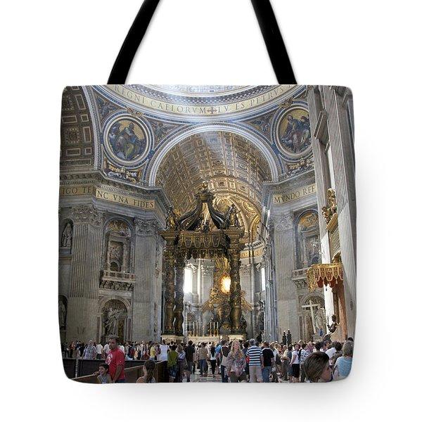 Interior Of St Peter's Dome. Vatican City. Rome. Lazio. Italy. Europe Tote Bag