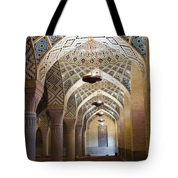Interior Of The Winter Prayer Hall Of The Nazir Ul Mulk Mosque At Shiraz In Iran Tote Bag by Robert Preston