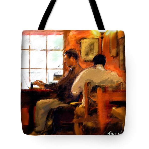 Tote Bag featuring the painting Internet Coffee House by Ted Azriel