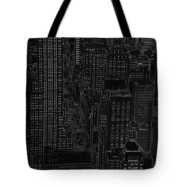 Into Nyc White On Black Tote Bag by Meandering Photography