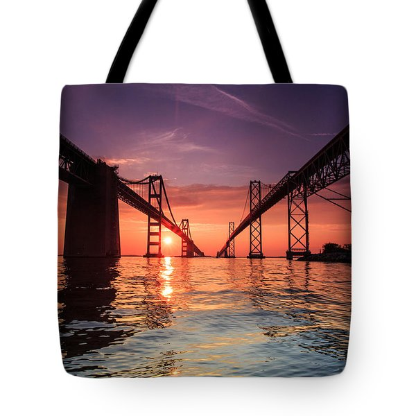 Tote Bag featuring the photograph Into Sunrise - Bay Bridge by Jennifer Casey